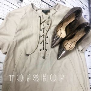 TopShop Tan Lace Up Shift Dress with Pockets